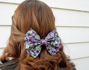 Purple Flower Patterned Fabric Hair Bow
