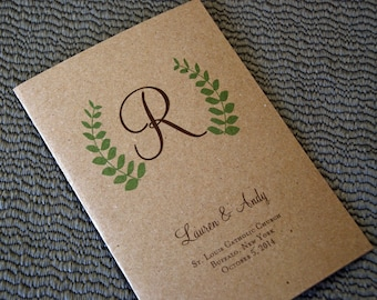 "Fern Design - Bi-fold 5x7"", Folded Wedding Programs, Church Bulletins"