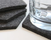 Hexagon Drink Cup Coasters 5mm Thick Virgin Merino Wool Felt Fabric Eco Friendly Housewarming Hostess Gifts Felted Dark Grey Gray Barware
