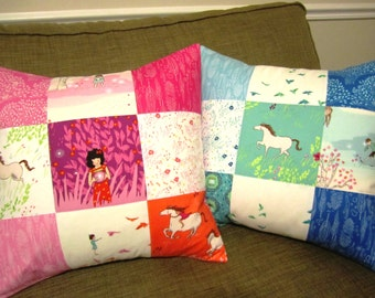 Wee Wander Patchwork Pillow Covers -- Set of 2 -- 18 Inch