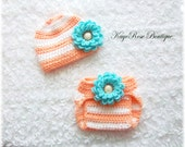 Newborn Baby Girl Crochet Flower Hat and Diaper Cover Set Blue Peach and White Stripes