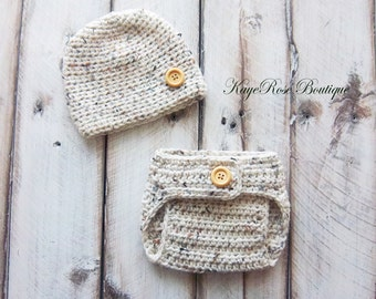 Newborn Baby Boy Hat & Diaper Cover Set Speckled Khaki