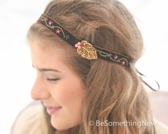 Vintage Velvet Ribbon Hippie Tie Headband, Bohemian Brown Embrordery Headband with Brass Leaf, Boho Headband For Women