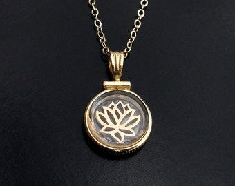 Lotus Locket in Gold - Size Small in Gold or SIlver