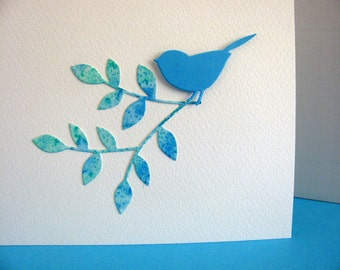 Inventory CLEARANCE 3D Bird on Watercoloured Leafy Branch on Creamy Ivory Card / Turquoise, Aqua / A2 Size / Ready to Ship
