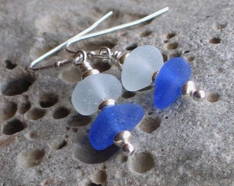 Natural Sea Glass Royal Blue Soft Seafoam Earrings (631)