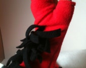 Fringed Red fleece Gloves, Fingerless fleece long gloves, Black and White Fringed Arm Warmers