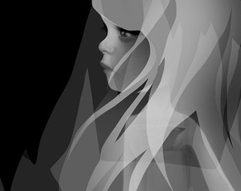 "5x7 Premium Art Print ""Invisible"" Small Size Giclee Print of Original Artwork - Little Ghost Girl - Spirit Child"