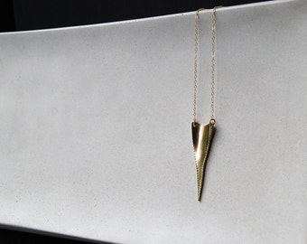 Great White Shark Tooth Necklace in 10K Gold- Rustic Rough Edge Shark Tooth, Arrow Shape Necklace