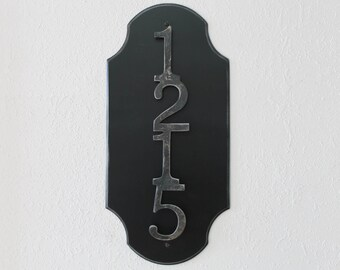 Metal address number Four numbers on a plaque Family address sign