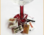 Miniature Book Wine Glass Charms Vintage Style 1930's, 1940's Fashion Theme Set of all 6