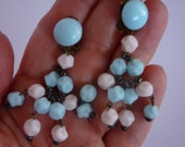 Sweet Vintage Chandelier Earrings Pastel Pink and Blue clip ons Made in Western Germany