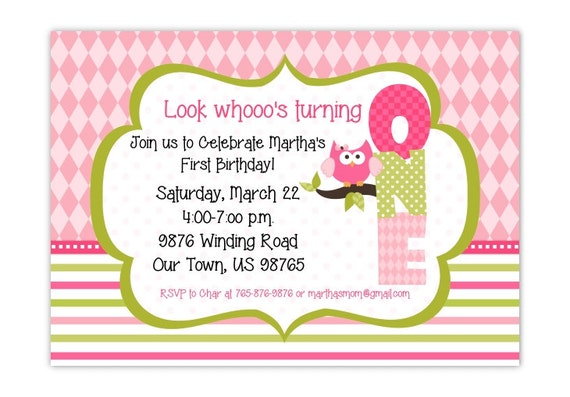 First Birthday Invite Owl Invitation Printable