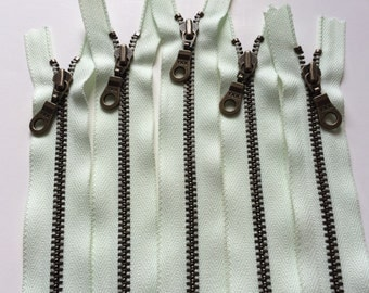YKK Metal Teeth Zippers- Light Mint  Antique Brass Donut Pull- Available in 9,11, and 14 Inch- 5 Pieces- Color 184