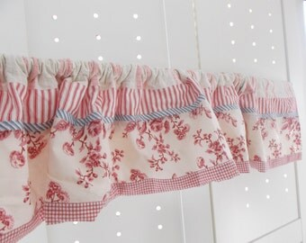 red toile candy stripe  country kitchen curtain valance custom ooak