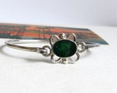 Taxco Sterling Silver & Green Malachite Bracelet Mexican Vintage