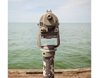 travel photography / binoculars, telescope, tampa bay, florida, nautical, fishing pier, dock / view to the bay / 8x10 fine art photograph
