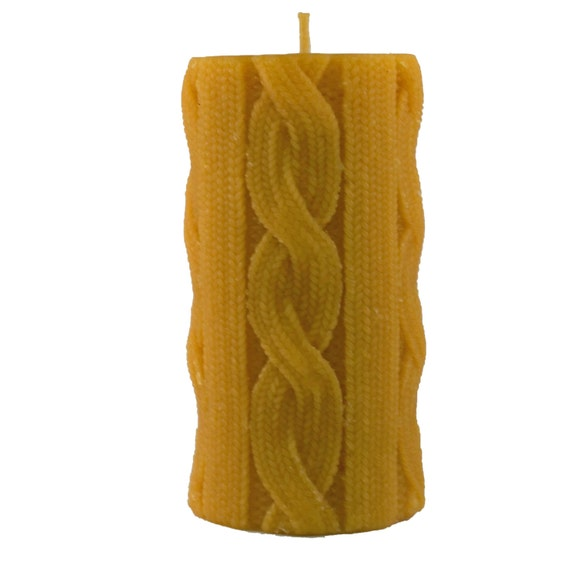 "Beeswax Pillar Candle  -- Sweater Textured  6"" x 2.75"" Organic Managed"