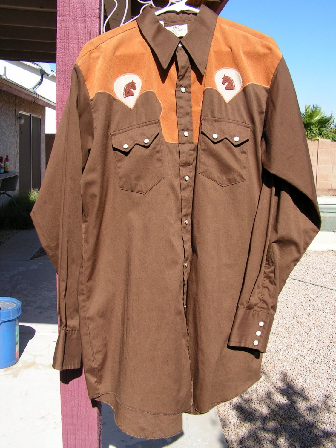 Vintage Country Western Wear Shirt Men's Brown Rockabilly