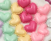 Resin Cabochons - 24mm Cute Heart Shaped Mini Macaron Tops Pastel Flatback Resin Cabochons - for making fake food crafts - 10 pc set
