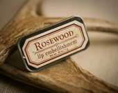 Rosewood - lip embellishment in tin - natural lip balm with beeswax, cocoa butter, forest-inspired natural flavor