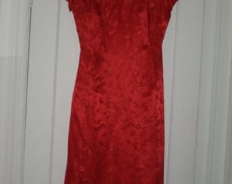 Vintage Cathay Red Silk Chinese Wedding Prom Evening Cocktail Dress Cheongsam Qi Pao 1950's 1960's