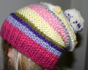 Special offer - Very Cute hand knitted Striped Multicolor Slouchy Pom Pom Hat / Beanie in XS for 3 -6yo