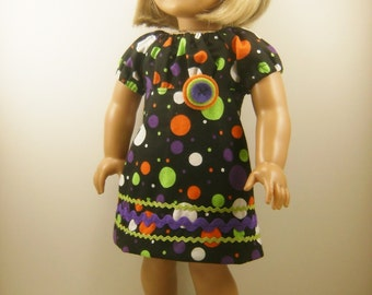 Fits American Girl Doll Retro Peasant Dress Halloween Dots Fits 18 Inch Dolls Girls Toys Matching Hair Bow