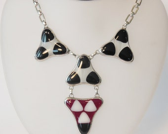 Cleopatra Iconic Fused Glass Necklace with sterling Silver