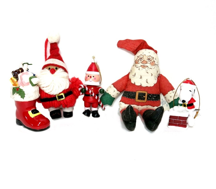 Santa Christmas Ornaments 1970s 1980s Red White By Coconutroad