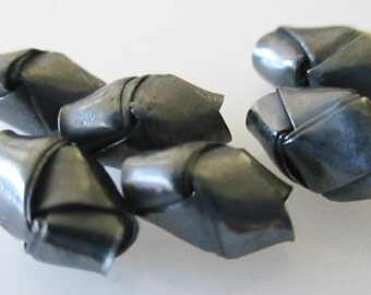 Black Silver Origami Beads 8x4mm, Black Silver Beads, Large Hole Beads, Hill Tribe Silver Beads, Karen Hill Tribe beads (11 beads) LOT 38-A