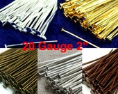 100pcs Flat Head Pins 20 Gauge 2 Inches 50mm Heavy Strong, Silver, Gold, Antique Brass, Antique Copper, Antique Silver - Pick Finish