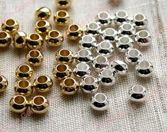 24pcs 6x4mm Quality Seamless Brass Rondelle Spacer Beads, Polished Raw or Sterling Silver Plated, Large 3mm Hole