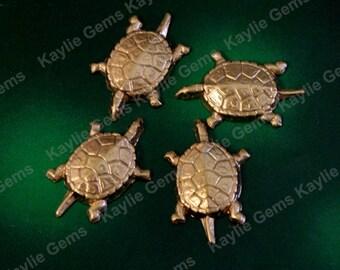 Raw Brass Stamping Turtle Decorative Ornate Ornament Metal Art USA - SF974 - 6pcs
