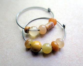 peach earrings. orange jewellery. mustard yellow. niobium hoops.