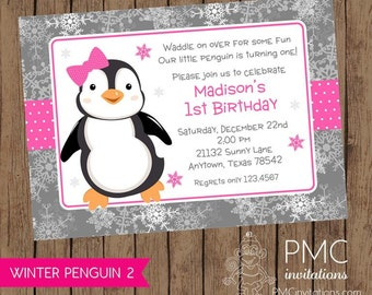 Winter Penguin Birthday Invitation - .1.00 each with envelope