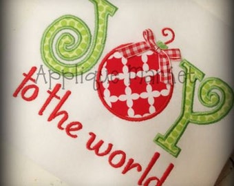 Machine Embroidery Design Applique Joy to the World INSTANT DOWNLOAD