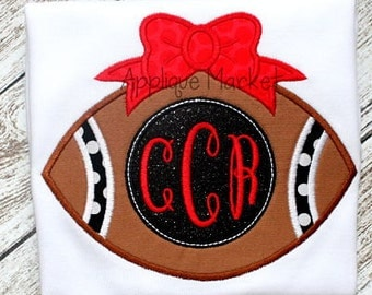 Machine Embroidery Design Applique Football Bow 2 INSTANT DOWNLOAD