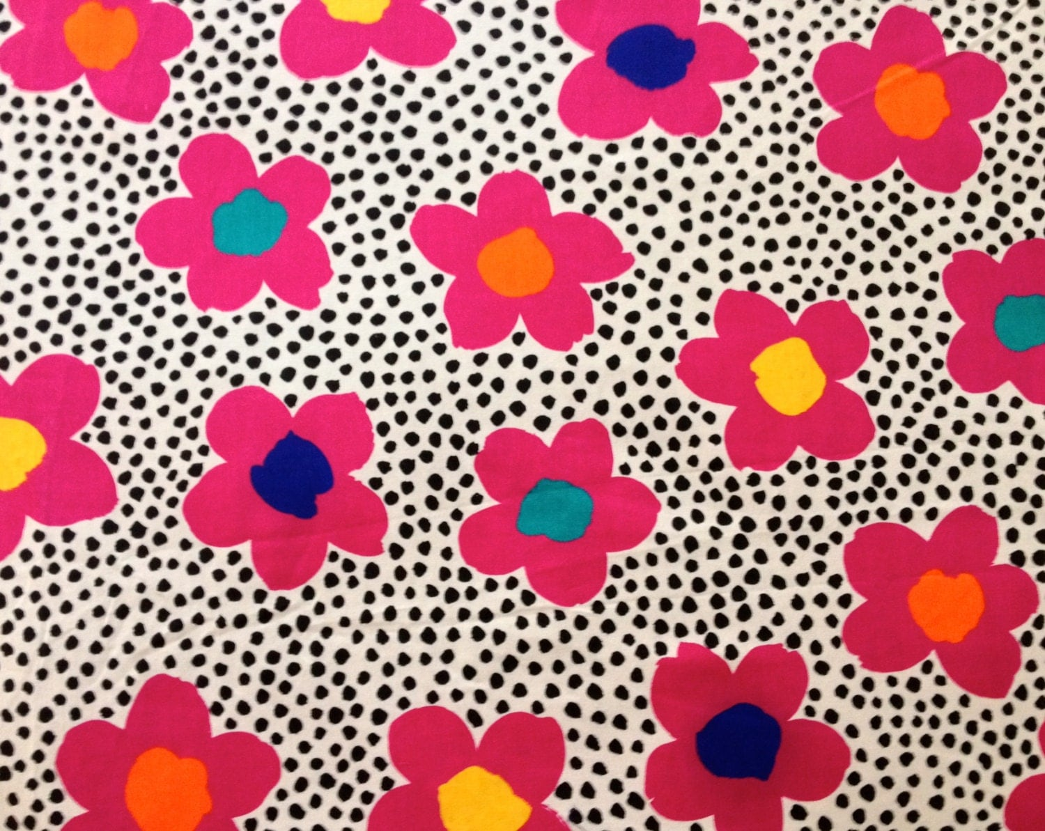 Flower Power And Polka Dots Fab 70s Fabric Hot Pink Disco
