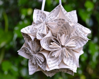 Wuthering Heights Book Small Paper Flower Pomander Ornament