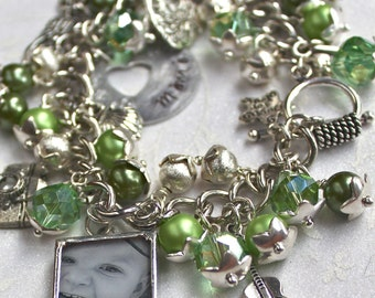 Memorial jewelry for loss of mother, personalized mom charm bracelet, grandma gift, mom gift, hand stamped charms