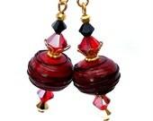 Red, black and gold earrings, artisan lampwork burgundy and black earrings with Swarovski crystal, Christmas lampwork earrings