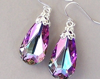 Lavender crystal earrings, Vitrail Light Swarovksi crystal teardrop bridal earrings, sterling silver