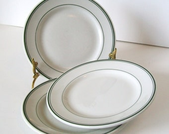 Sterling 3 Small Plates Green Stripe Vintage Restaurant Ware China Dessert Bread Butter Snack Diner Cafe Dishes