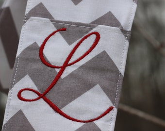 Camera Strap Cover with lens cap pocket and padding included - Monogrammed Grey Chevron