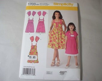 New Simplicity Girl's Dress  Pattern, 1703 HH (3,4,5,6) (Free US Shipping)