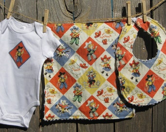 Cowboy Baby Gift Set - Giddy Up - includes Baby Bodysuit, Bib, Burp Cloth - Size NB-12 months