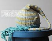 Newborn Knit Hat Elf Nightcap Baby with Tassel Teal Golden Celery Gray Grey Stripes Cotton