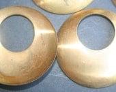 Six Findings Vintage BRASS circle hoop