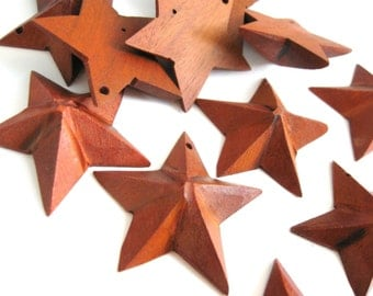 "3 Primitive star wood pendants 38mm (1 1/2"")"